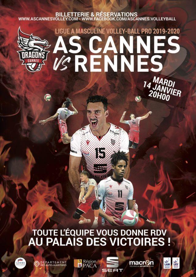 Les Dragons reçoivent Rennes le 14 janvier 2020 à 20h au PDV